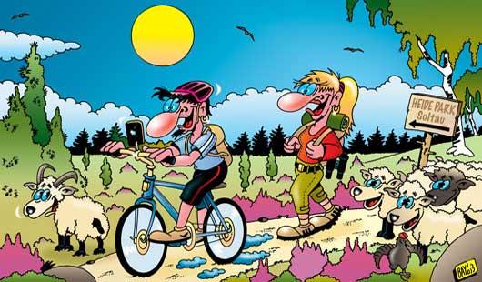 Cartoon - Die Lüneburger Heide ist einfach schön für Wanderer, Radfahrer und Heidschnucken