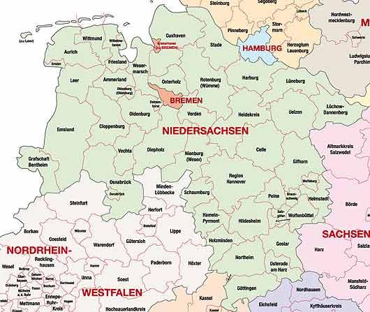städte in niedersachsen karte Landkreise in Niedersachsen städte in niedersachsen karte