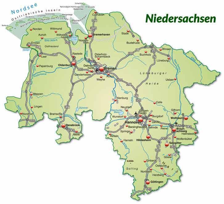 Niedersachsen Karte Mit Städten.Niedersachsen Urlaub Tourismus Nachrichten Infos