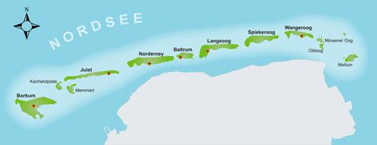 Karte der Ostfriesischen Inseln