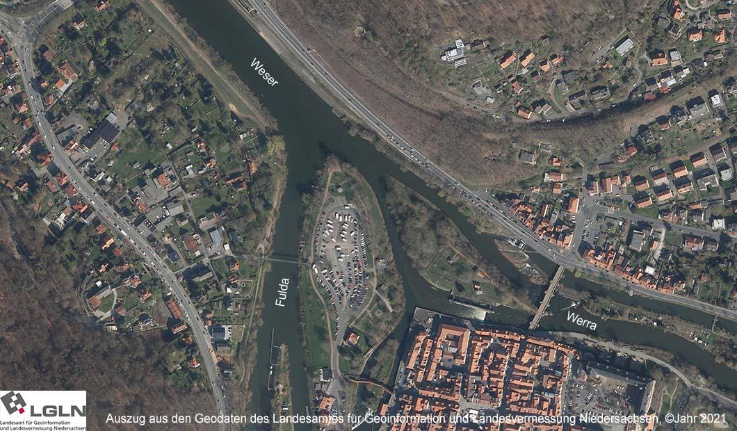 Weser - der Zusammenfluss von Fulda und Werra als Luftbild