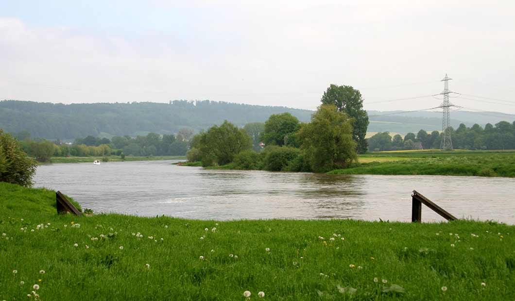 Typischer Weserlauf im unteren Bereich